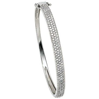 Bracelets Bangle 925 sterling silver rhodium plated with cubic zirconia flap closure