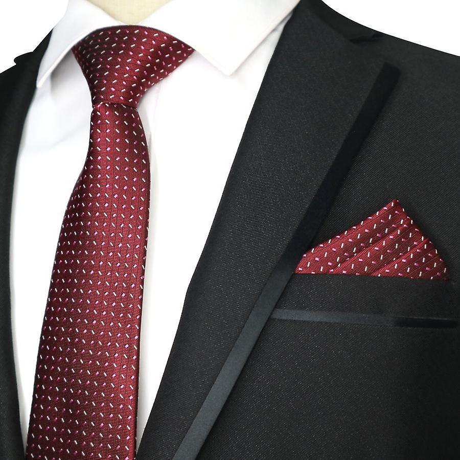 Red purple pink & oat ditsy necktie tie & pocket square