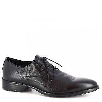 Leonardo Shoes Men's handmade classy oxford shoes in black goat leather