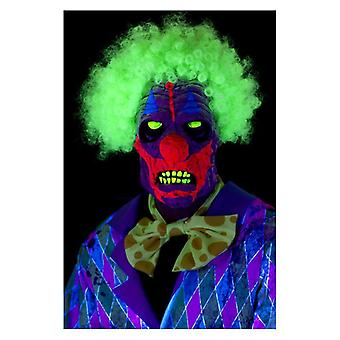 UV-sort lys klovn maske