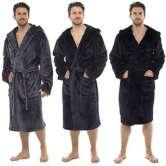 Tom Franks Mens Flanel fleece cu glugă Dressing Gown