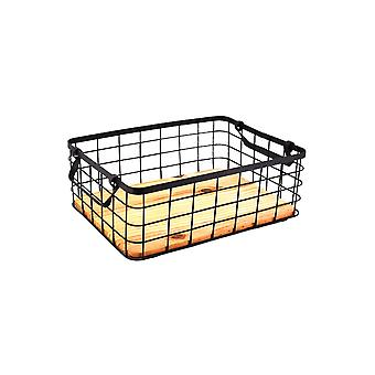 Wrought iron square table storage basket with handle