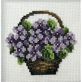 Orchidea Printed Cross Stitch Kit - Basket of Violets