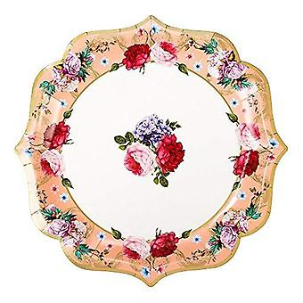 4 Truly Scrumptious Floral Serving Platter Paper Plates, Tea Party Tableware