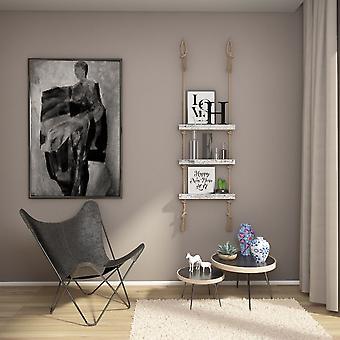 Halatli Regal weiße Farbe, Ecru Holz, Juta, L50xP9xA125 cm