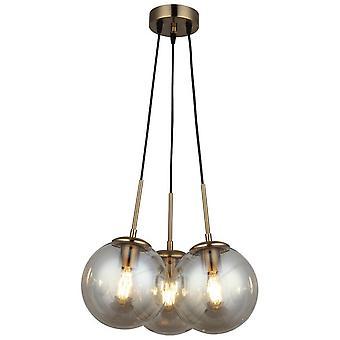 Pol?no Pendentif Lampe Couleur Noire, Métal Or, Verre, L40xP40xA120 cm