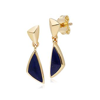 Micro Statement Lapis Lazuli Drop Earrings in Gold Plated 925 Sterling Silver 270E027703925