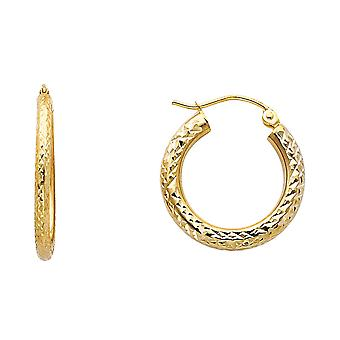 14k Yellow Gold Sparkle Cut 3.0mm Round Hoop Earrings 20mm Jewelry Gifts for Women - 1.4 Grams