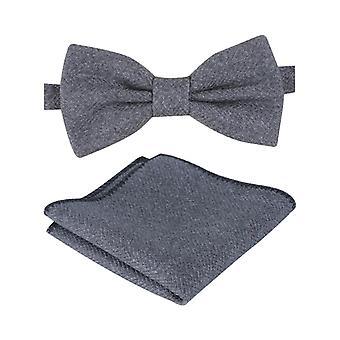 Mens & Boys Grey Herringbone Tweed Dickie Bow Tie and Pocket Square