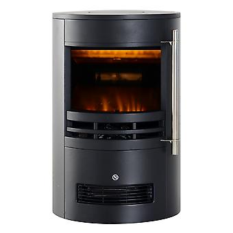 HOMCOM 1000/2000W Freestanding Electric Fireplace Indoor Heater Glass View Log Wood LED Burning Effect Flame Stove with Thermostat Control