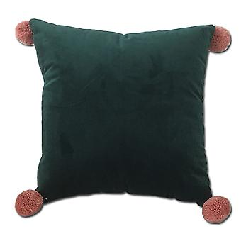 YANGFAN Velvet Soft Decorative Square Pillows With Fur Ball