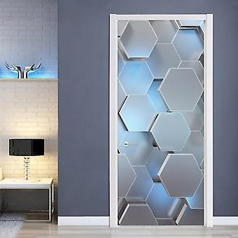 Modern 3d Stereo Geometric Door Mural Pvc Self Adhesive Waterproof Wall Sticker - Living Room Creative Decor Door Stickers Poster