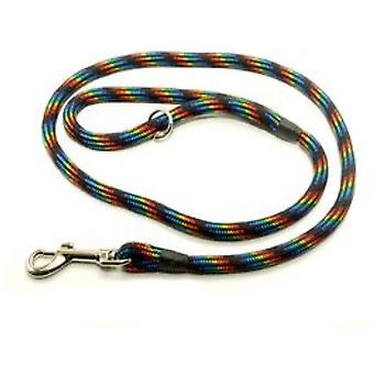 Kjk Ropeworks Braid Clip Lead (120cm) Avec Arrêt en caoutchouc - Black Rainbow
