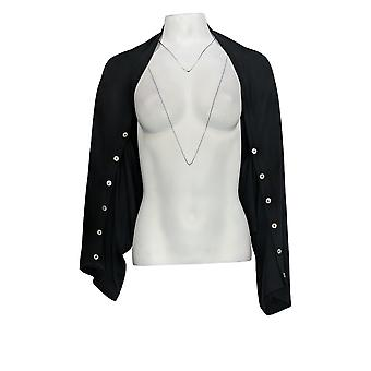 LOGO من قبل لوري غولدشتاين المرأة & apos;ق أعلى M/L تجاهل W/Button Sleeves Black A349087