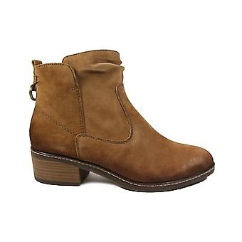 Tamaris 25329 Camel Brown Nubuck Leather Womens Ankle Boots