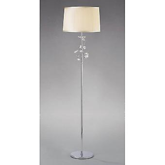 Willow Floor Lamp With Cream Shade 1 Bulb Polished Chrome / Crystal