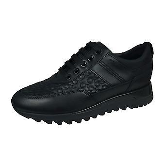 Geox D Tabelya B Womens Nappa Leather Trainers / Shoes - Black