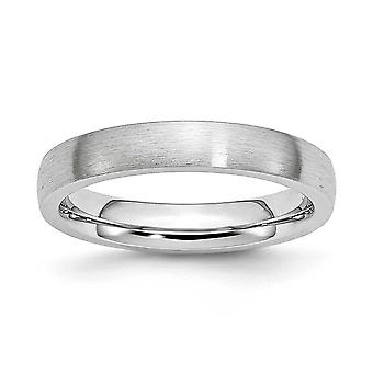 Cobalt Chromium Half Round Ggravable Satin 4mm Band Ring Jewely Gifts for Women - Ring Size: 7 a 13