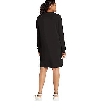 Brand - Daily Ritual Women's Supersoft Terry Long-Sleeve Raglan Sweatshirt Dress, Black, Small