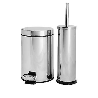 Badezimmer Pedal Bin (3 Liter) und Toilettenbürste Set - Chrome Finish