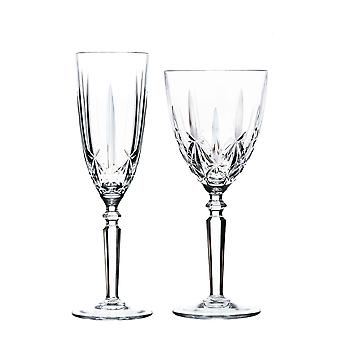RCR Crystal Orchestra Cut Glass Wine Glasses and Champagne Flutes - 290ml, 200ml - 12pc Set