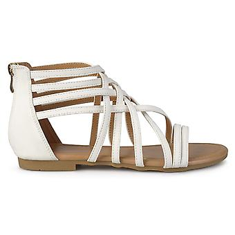 Brinley Co Womens Hex Wide Width Strappy Gladiator Flat Sandals