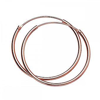 Beginnings Sterling Silver H245 Rose Gold 30mm X 1.5mm Hoop Earrings
