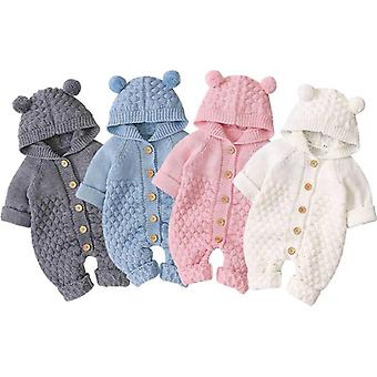 Newborn Baby Autumn Winter Long Sleeve Hooded Knitting Romper Jumpsuit