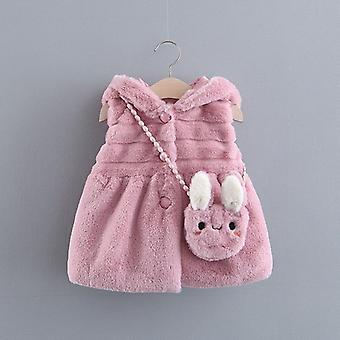 Baby Girls Vest Winter Waistcoats Warm Fur Coat With Bag