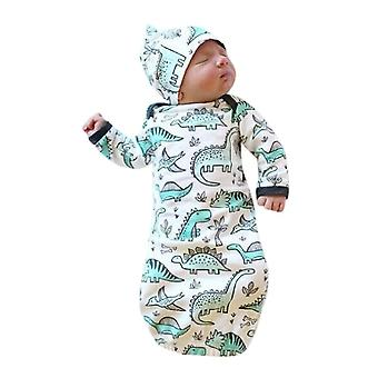 Newborn Infant Baby Girls Boy Cartoon Dinosaur Pajamas Gown Swaddle Outfits Clothes Set (white)