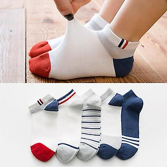 5 Pairs Boys Striped Sock For School Children Fashion Sports Elastic Socks- Spring Autumn Summer Breathable Soft Sock