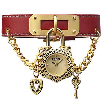 Rebel Women-apos;s RB114-9051 Seagate Gold IP Steel Red Leather Montre-bracelet