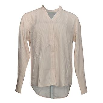 Elizabeth & Clarke Women's Top Striped W/ Covered Buttons Pink A353172