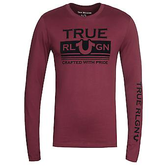 True Religion Long Sleeve Still Mill Burgundy T-Shirt