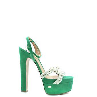 Elisabetta Franchi Ezbc050253 Women's Green Fabric Sandals