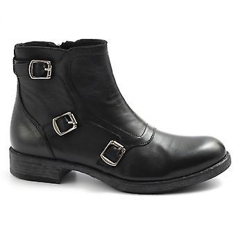 Kvinnors vrist Boot Sangiorgio svart läder med spännen