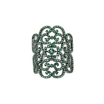 Kreivitär Filigree Cocktail Ring smaragdinvihreä hopea