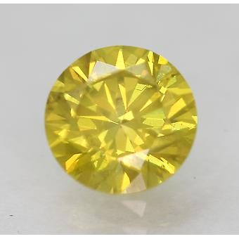 Cert 0.73 Ct Vivid Yellow VS2 Round Brilliant Enhanced Natural Diamond 5.71m 3EX