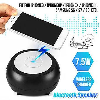2-in-1 Qi Wireless Fast Charger with Universal 7.5W bluetooth Audio Speaker