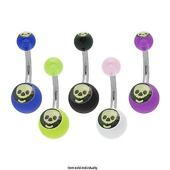 Acrylic skull logo belly button ring