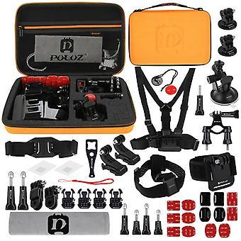PULUZ 45 en 1 Accessoires Ultimate Combo Kits avec Boîtier Eva Orange (Chest Strap + Suction Cup Mount + 3-Way Pivot Arms + J-Hook Buckle + Bracelet +