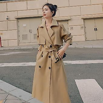 Spring Autumn Long Women Trench Coat, Double Breasted Belted Storm Flaps, Loose
