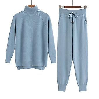 Women Knitted Tracksuit Turtleneck Sweater Jogging Pants Pullover Sweater Set