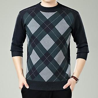 Sweater Mens, Winter Thick Warm Cashmere Turtleneck Knitted Plaid Sweaters,