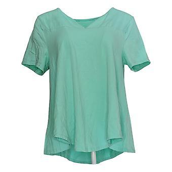 AnyBody Women's Top Heart Print Short-Sleeve Wrap Blouse Green A377772