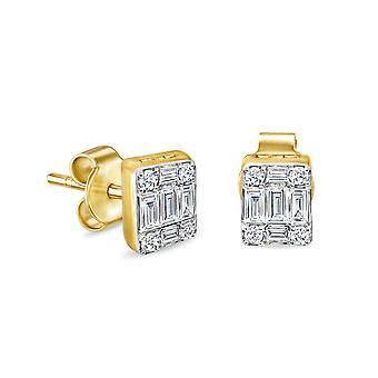 أقراط باغويت مسمار (زوج) 18K الذهب والماس
