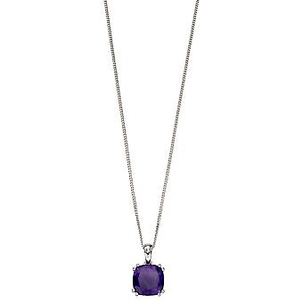 Elements Silver 925 Sterling Silver Ladies' Cushion Cut Semi Precious Stone Pendant Necklace of Length 41cm-46cm