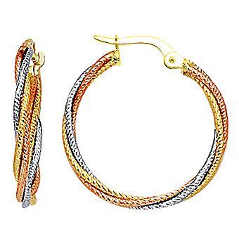10 k 3 Tone wit, geel en Rose goud Triple gevlochten kabels ronde Hoop Earrings, Diameter 23mm