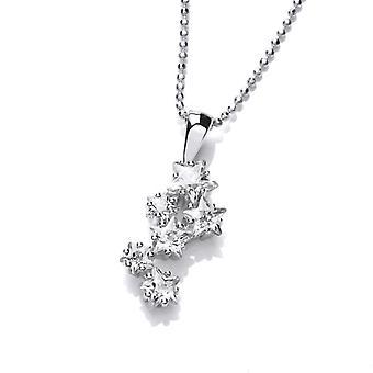 Cavendish Français silver & cubic zirconia stars au pendentif de nuit sans chaîne