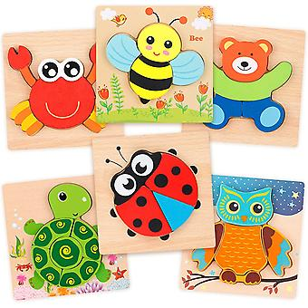 Animal Shape 6 Pack Wooden Jigsaw Puzzle Set